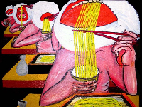 02-Shy nudists eat Zaruzoba as you see_Nudisti Timidi manggiano Zarusoba come vedi_oil on juta, 50 x 50cm, 2011