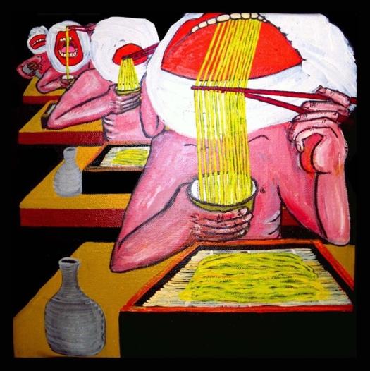 Shy nudists eat Zaruzoba as you see_Nudisti Timidi mangiano Zarusoba come vedi_oil on juta_50 x 50cm_2011